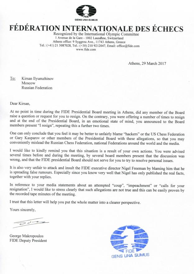 Brevet fra Makropoulos til Ilyumzhinov. Foto: FIDE.com