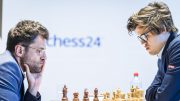 BRILLEFIN: Levon Aronian gikk ned i det 51. møtet mot Magnus Carlsen. Foto: Lennart Ootes