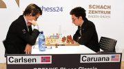 RIVALER: Magnus Carlsen og Fabiano Caruana i Grenke Chess Classic. Foto: Georgios Souleidis