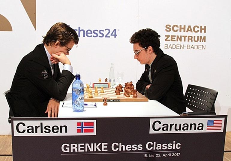 RIVALER: Magnus Carlsen og Fabiano Caruana i Grenke Chess Classic 2017. Foto: Georgios Souleidis