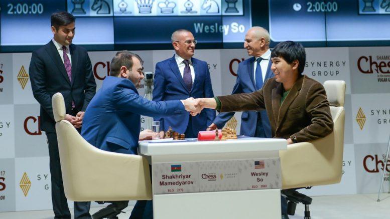 HJEMMESEIER: Shakhriyar Mamedyarov satte Wesley So på plass i åpningsrunden i Aserbadsjan. Foto: Shamkir Chess