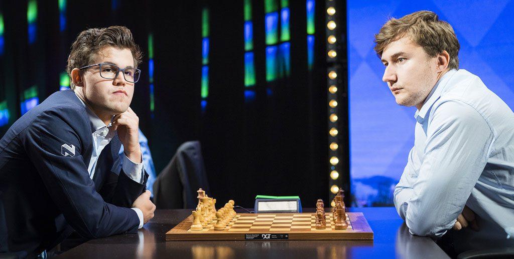 Magnus Carlsen klarte ikke å slå lynsjakkverdensmester Sergey Karjakin. Foto: Lennart Ootes
