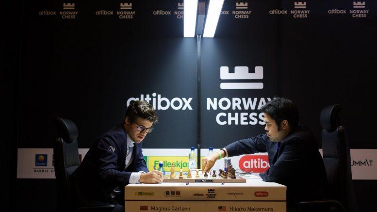REMIS: Magnus Carlsen mot erkerival Hikaru Nakamura i Norway Chess 2017. Foto: Joakim Steinbru/Norway Chess