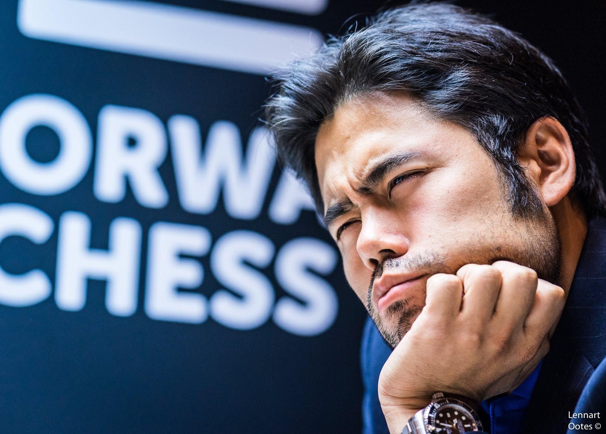 LEDER: Hikaru Nakamura spilte remis mot Vladimir Kramnik og beholder ledelsen etter fem runder i Norway Chess 2017. Foto: Lennart Ootes