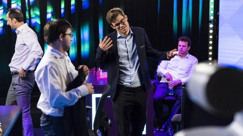 TIEBREAK: Magnus Carlsen og Maxime Vachier-Lagrave måtte gå gjennom tiebreak. Foto: Lennart Ootes