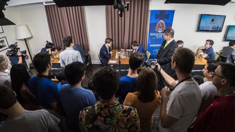 DRAMA: Magnus Carlsens 53. møte med Levon Aronian ble dramatisk. Foto: Lennart Ootes/Grand Chess Tour