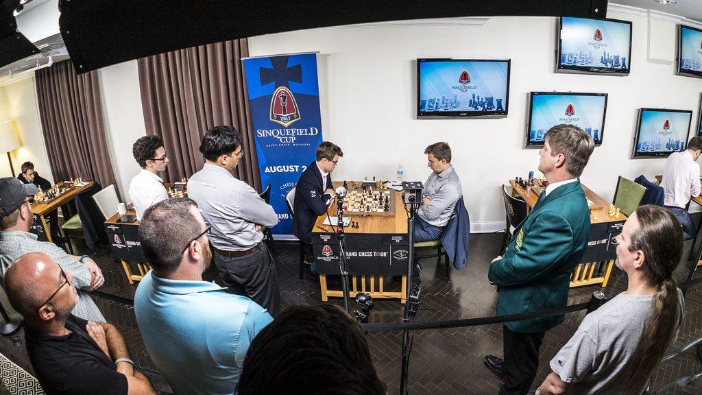 FULLT HUS: Fullt hus da Magnus Carlsen tok sin andre strake seier over Sergey Karjakin. Foto: Lennart Ootes/Grand Chess Tour
