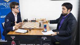 NESTENREKORD: 94 trekk er ett trekk unna deres innbyrdes rekord fra 2015. Den gang spilte de 95 trekk. Foto: Lennart Ootes/Grand Chess Tour