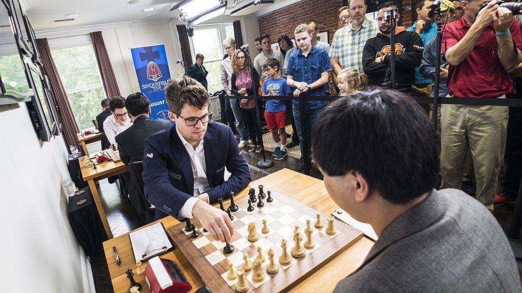 SEIER: Magnus Carlsen tok sin tredje seier på 10 møter med Wesley So. Foto: Lennart Ootes/Grand Chess Tour