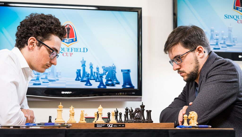 SJOKKTREKK: Fabiano Caruana overrasket med 10.Dd3 i beryktet åpningsvariant. Foto: Lennart Ootes/Grand Chess Tour