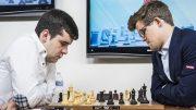 UBESEIRET: Ian Nepomniachtchi er ubeseiret på sju møter i klassisk sjakk mot Magnus Carlsen. Foto: Lennart Ootes/Grand Chess Tour