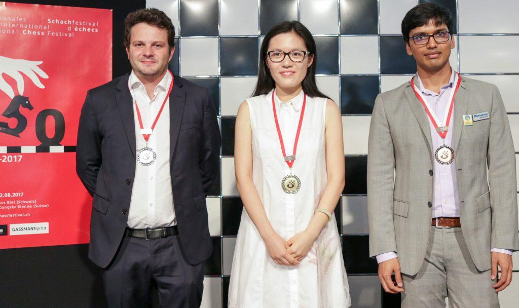 TOPP 3 I BIEL: Etienne Bacrot, Hou Yifan og Pentala Harikrishna. Foto: Biel Intenrational Chess Festival