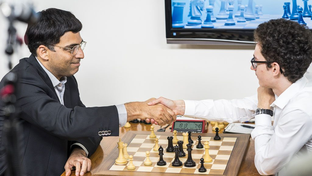 Fabiano Caruana resigns vs Viswanathan Anand. Photo: Lennart Ootes/Grand Chess Tour