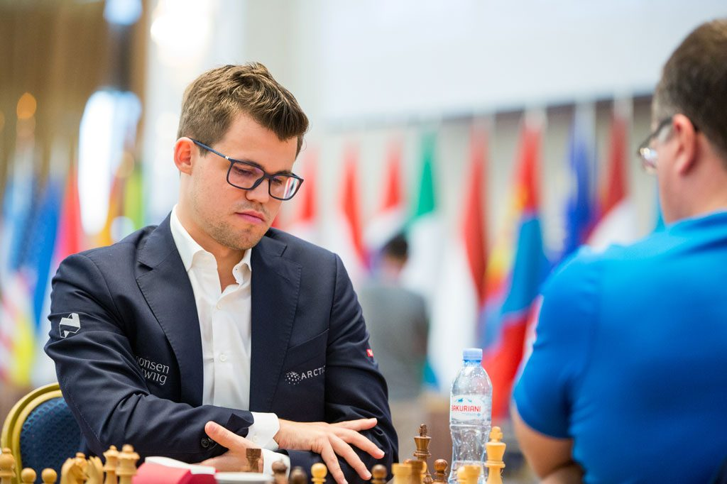 OVERBEVISENDE: - Han ba om trøbbel, sa Magnus Carlsen etter seier over Alexey Dreev. Foto: Maria Emelianova/mattogpatt.no