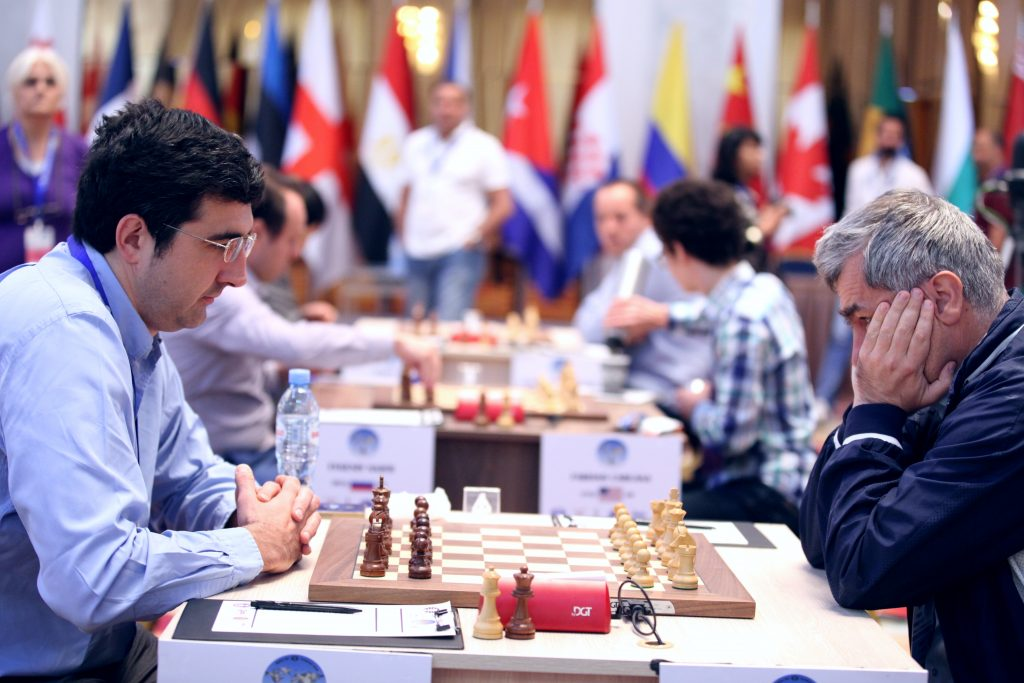 Vladimir Kramnik was knocked out by Vasily Ivanchuk. Photo: Anastasiya Karlovich/FIDE