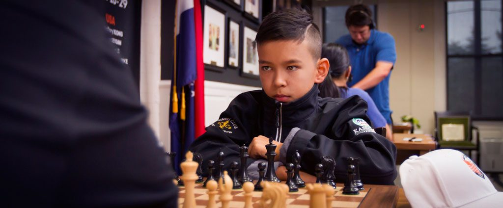 USA: Nodbirek Abdusattorov under Match of Millenials i St. Louis i USA tidligere i år. Foto: Spectrum Studios/St. Louis Chess Club