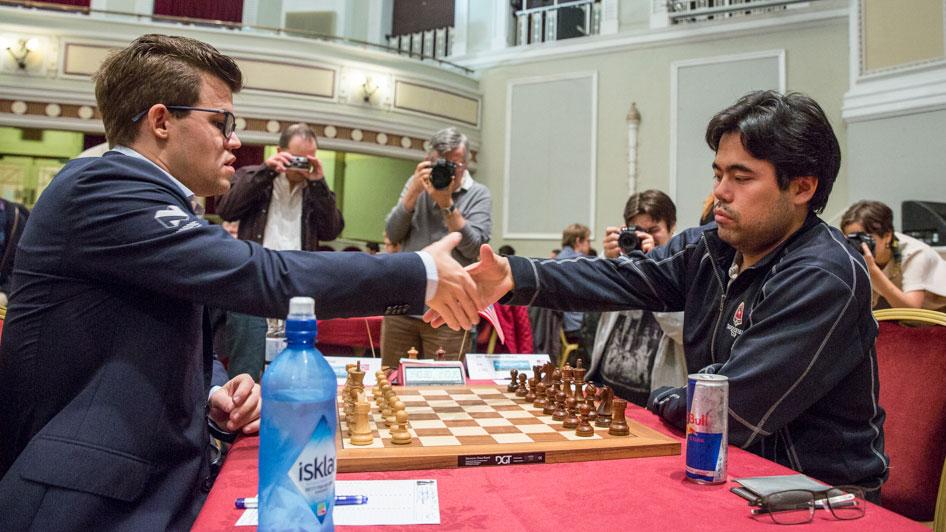 REMIS: Magnus Carlsen i sitt 35. møte med Hikaru Nakamura. Foto: Maria Emelianova/chess.com