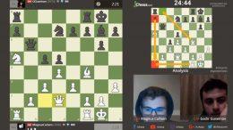 MISFORNØYD: Magnus Carlsen vant lett 20,5-5,5 over Gadir Guseinov, men var ikke fornøyd med eget spill. Foto: Skjermdump chess.com