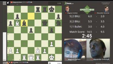 FINALEKLAR: Magnus Carlsen klar for finalen i Chess.coms Speed Chess-mesterskap etter seier over Alexander Grischuk. Foto: Skjermdump Chess.com