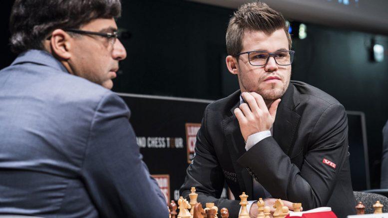 STORMØTE: Magnus Carlsen spilte med hvite brikker mot Viswanathan Anand for første gang siden 2014. Foto: Lennart Ootes/Grand Chess Tour