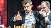 LONDON: Magnus Carlsen under åpningen av London Chess Classic torsdag kveld. Foto: Lennart Ootes/Grand Chess Tour