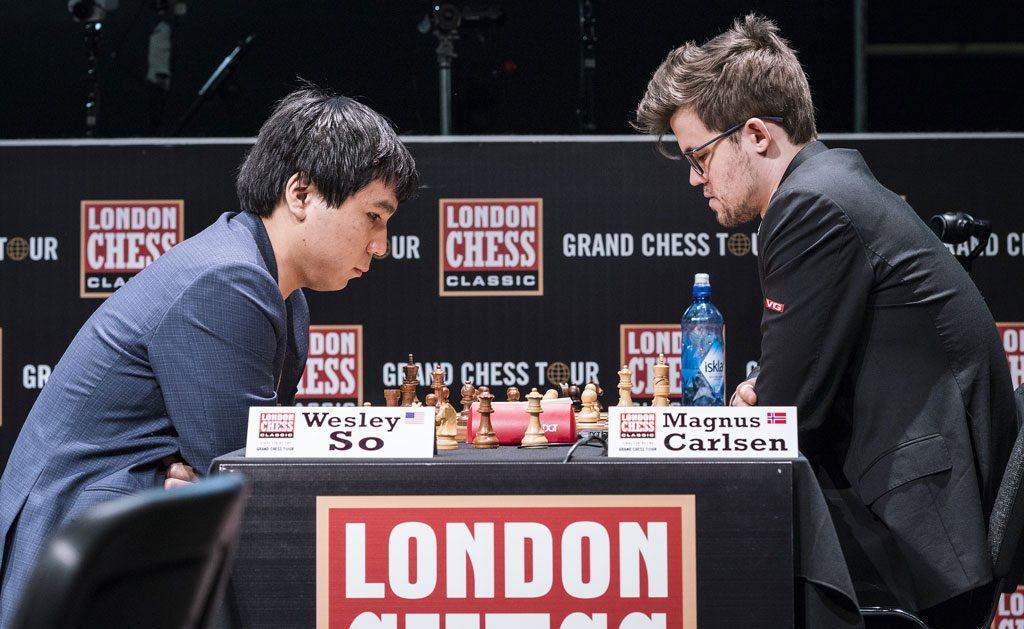 UBESEIRET: Magnus Carlsen er uten tap på 11 partier mot Wesley So. Foto: John Saunders/London Chess Classic