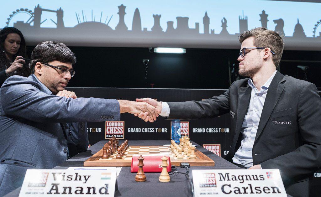 Magnus Carlsen i sitt 59. møte med Viswanathan Anand. Foto: Lennart Ootes/Grand Chess Tour