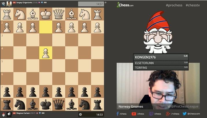 Jon Ludvig Hammer kommenterte PRO Chess League på sin Twitch-stream. Foto: Skjermdump twitch