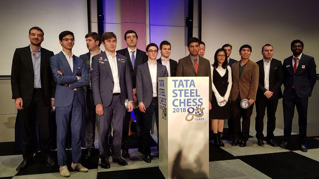 Hele feltet i Tata Steel Chess 2018. Foto: Tarjei J. Svensen