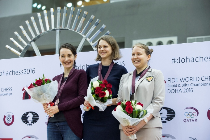 Anna Muzychuk became the winner of the World Rapid & Blitz Championship in 2016, here with Kateryna Lagno and Valentina Gunina. PHoto: Maria Emelianova