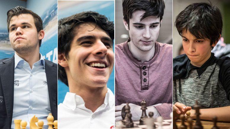 Magnus Carlsen, Aryan Tari, Johan Salomon og Elham Abdrlauf spiller for Norway Gnomes i PRO Chess League. Foto: Maria Emelianova/Rolf Haug/mattogpatt.no