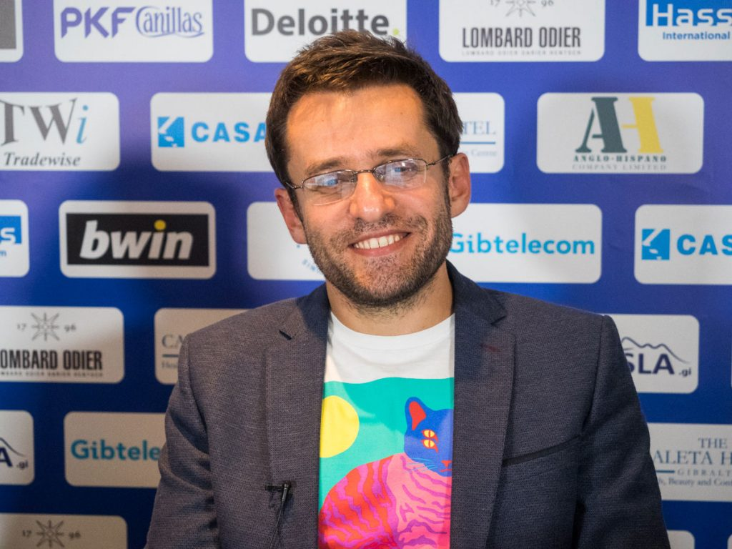 Levon Aronian after his Gibraltar win. Photo: Maria Emelianova