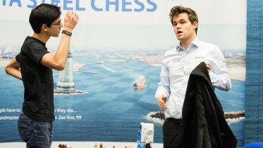 Anish Giri and Magnus Carlsen. Photo: Maria Emelianova