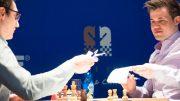 VM-MOTSTANDERE: Magnus Carlsen og Fabiano Caruana med remis i 1. runde i Grenke Chess Classic. Foto: Eric van Reem
