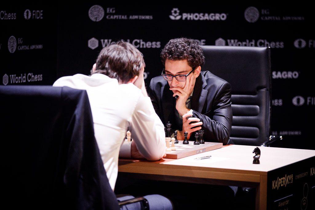 KONTROLL: Fabiano Caruana hadde god kontroll mot Alexander Grischuk i 14. runde i Berlin. Foto: World Chess
