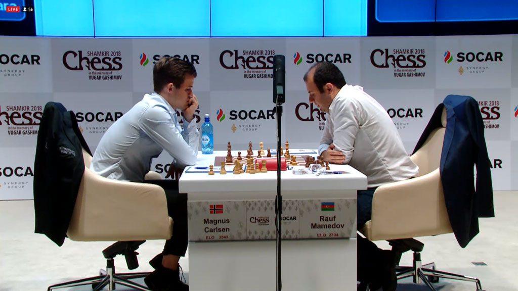 Magnus Carlsen slo Rauf Mamedov den ene gangen de møttes i Shamkir i 2015. I dag ble det derimot remis. Foto: Shamkir Chess