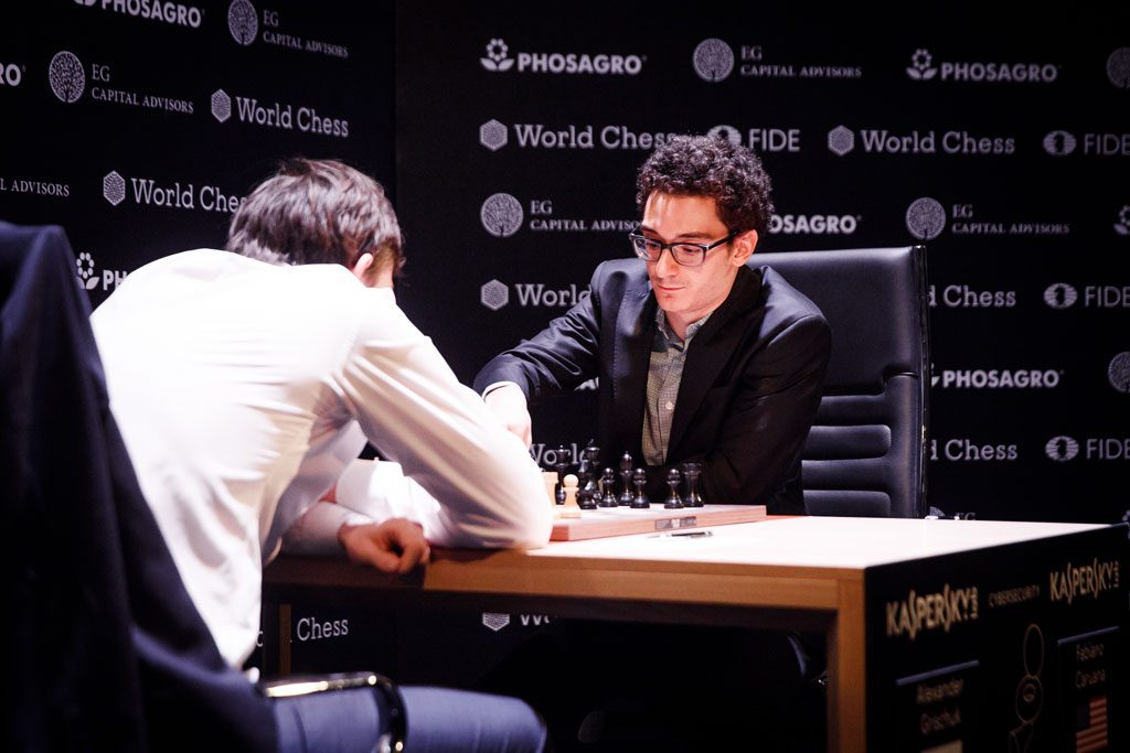 Fabiano Caruana secured his spot in the World Championship Match by beating Alexander Grischuk in the final round. Photo: World Chess