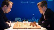 Magnus Carlsen var nær ved å gå på et sjokktap mot Georg Meier i 5. runde av Grenke Chess Classic. Foto: Eric van Reem