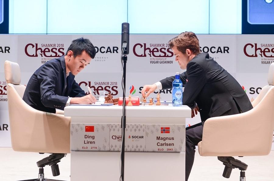 REMIS: Magnus Carlsen og Ding Liren med lynkjapp remis i 9. runde. Foto: shamkirchess.com