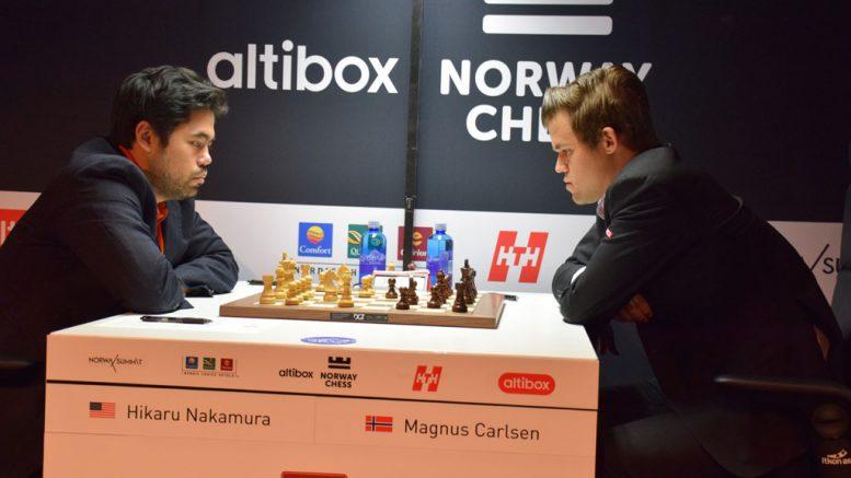 Magnus Carlsen og Hikaru Nakamura i 4. runde av Norway Chess 2018. Foto: Tarjei J. Svensen