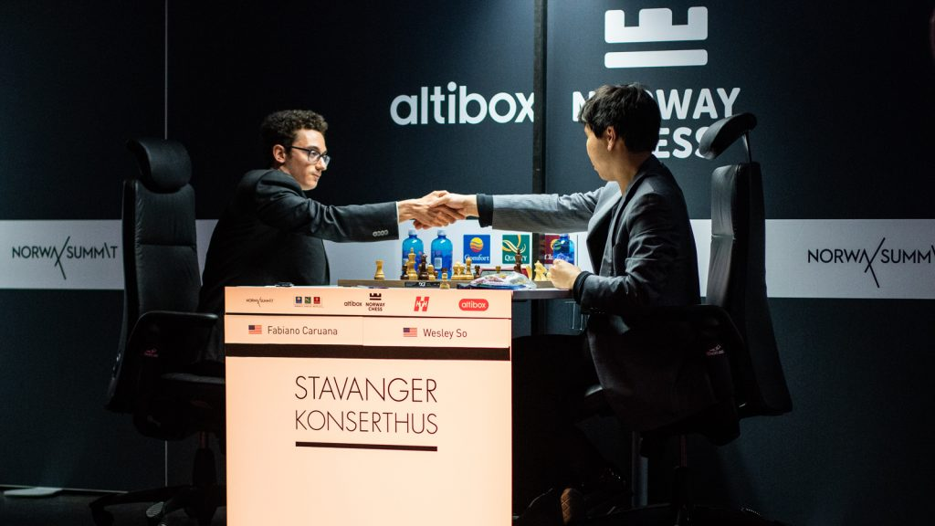 Wesley So giving his resignation against Fabiano Caruana, leading the latter to win his first Norway Chess. Photo: Maria Emelianova