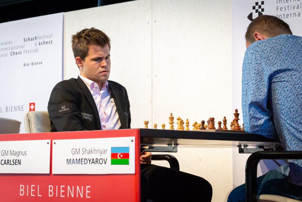 Magnus Carlsen og Shakhriyar Mamedyarov med årets fjerde innbyrdes remis. Foto: Hege Finsrud/Bærum Foto