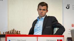 Magnus Carlsen før møtet med David Navara i Biel. Foto: Hege Finsrud/Bærum Foto