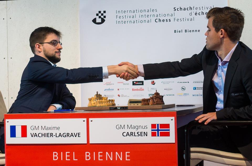 Seieren over Maxime Vachier-Lagrave, er Magnus Carlsens femte i karrieren. Foto: Lennart Ootes / Biel International Chess Festival