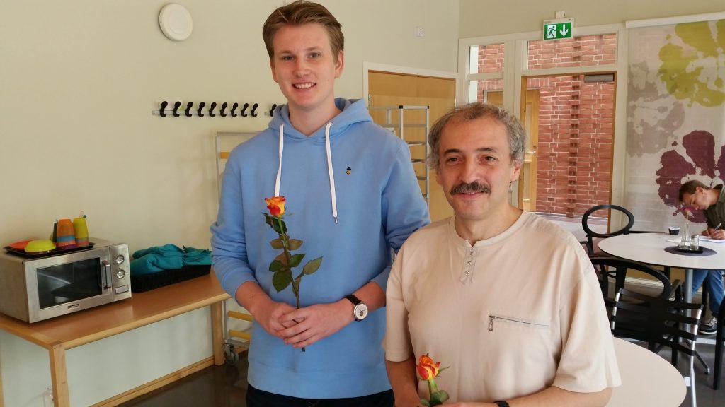 De to øverste i GM-turneringen: Johan-Sebastian Christiansen og Eduardas Rozentalis. Foto: http://www.ssmanhem.se