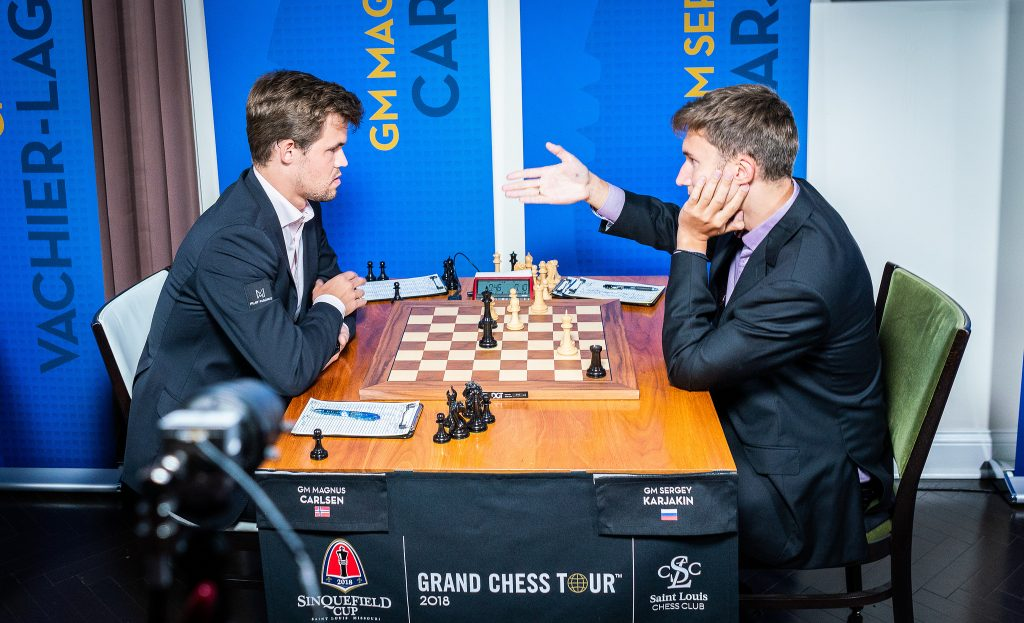 It took 88 moves and almost 7 hours of play for Magnus Carlsen to defeat Sergey Karjakin. Photo: Lennart Ootes/Grand Chess Tour