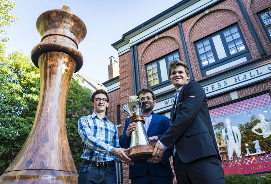 Three winners in Sinquefield Cup 2018: Fabiano Caruana, Magnus Carlsen and Levon Aronian. Photo: Lennart Ootes/Grand Chess Tour