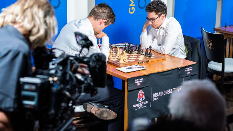 Magnus Carlsen was pushing for his 11th win against his American WC challenger Fabiano Caruana, but failed to convert his promising position. Photo: Lennart Ootes/Grand Chess Tour