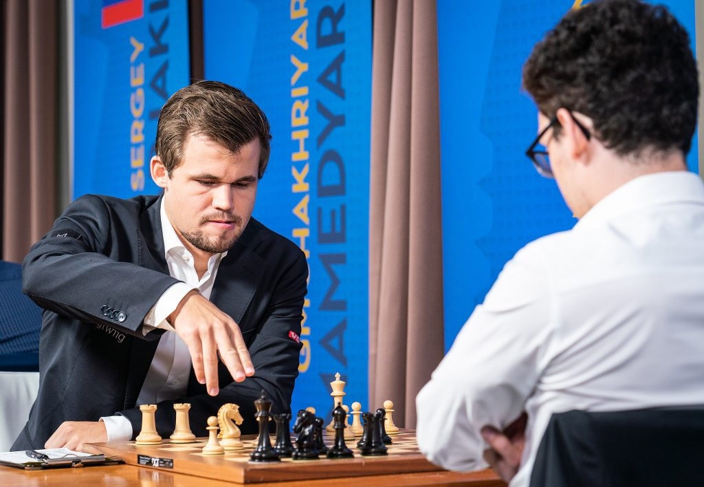 Magnus Carlsen and Fabiano Caruana's final encounter before London ended in a hard-fought draw. Photo: Lennart Ootes