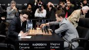 I London i 2018 endte alle de klassiske partiene mellom Magnus Carlsen og Fabiano Caruana remis. Her fra det 12. partiet. Foto: World Chess